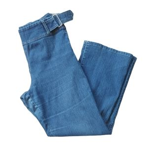 Retro Blue Denim Jeans with side Buckles, 6